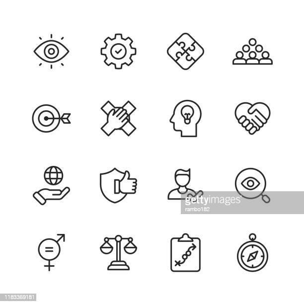 kernwerte-symbole. bearbeitbarer strich. pixel perfekt. für mobile und web. enthält symbole wie verantwortung, vision, geschäftsethik, recht, moral, soziale fragen, teamarbeit, wachstum, vertrauen, qualität. - entschlossenheit stock-grafiken, -clipart, -cartoons und -symbole