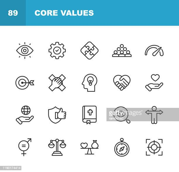 core values icons. editable stroke. pixel perfect. for mobile and web. contains such icons as responsibility, vision, business ethics, law, morality, social issues, teamwork, growth, trust, quality. - determination stock illustrations
