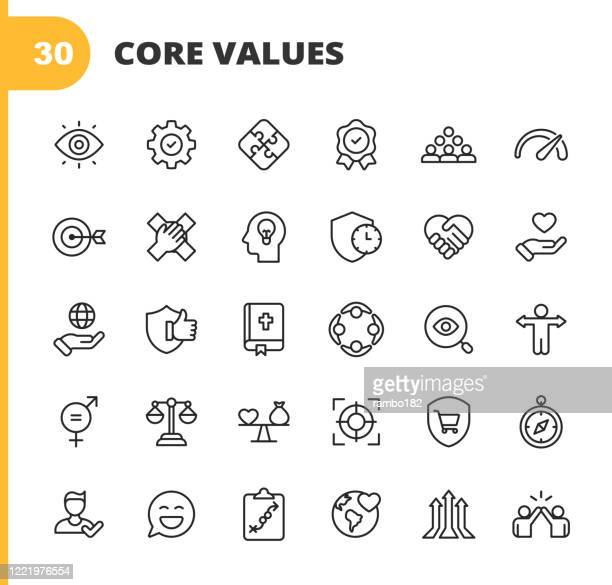 core values icons. editable stroke. pixel perfect. for mobile and web. contains such icons as responsibility, vision, business ethics, law, morality, social issues, teamwork, growth, trust, quality, innovation, teamwork, reliability, charity. - passion stock illustrations