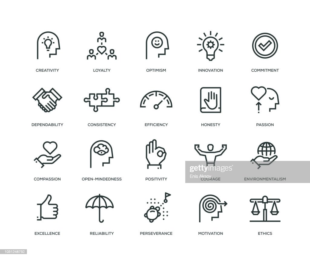 Core Values Icons - Line Series : Stock Illustration