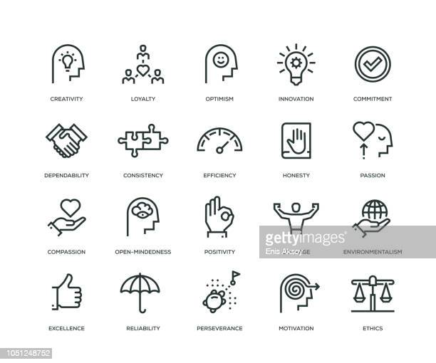 illustrazioni stock, clip art, cartoni animati e icone di tendenza di core values icons - line series - affidabilità