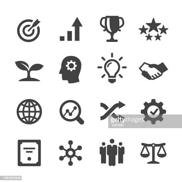 stockillustraties, clipart, cartoons en iconen met kern waarden icons set - acme serie - effectiviteit