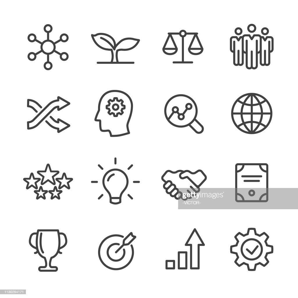 Kern waarden Icons Set - Line serie : Stockillustraties