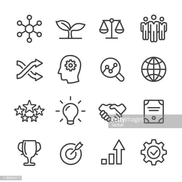 stockillustraties, clipart, cartoons en iconen met kern waarden icons set - line serie - culturen