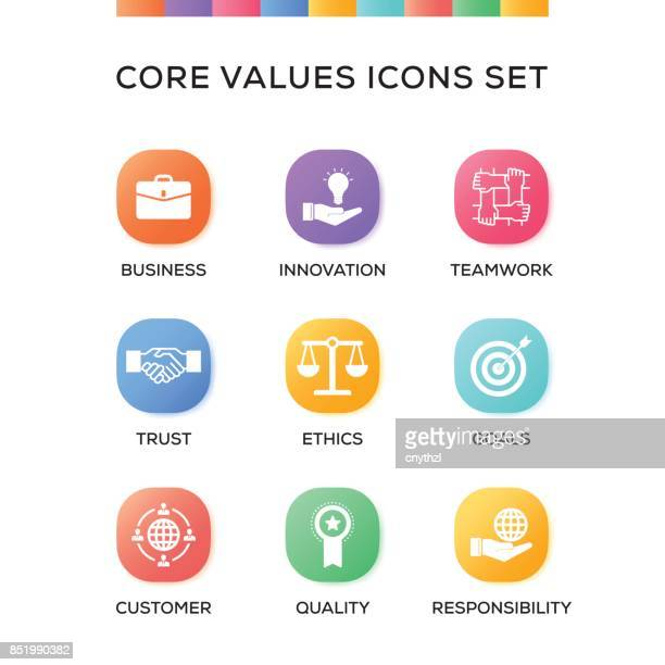 Core Values Icons Set on Gradient Background