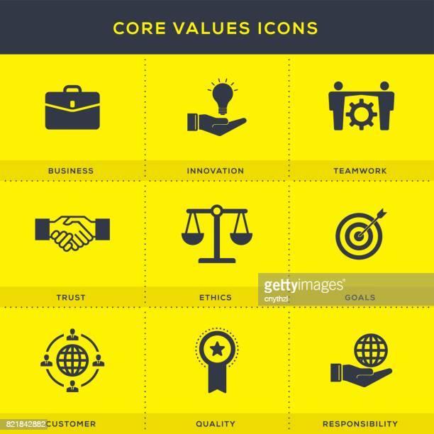 Core värden ikoner Set