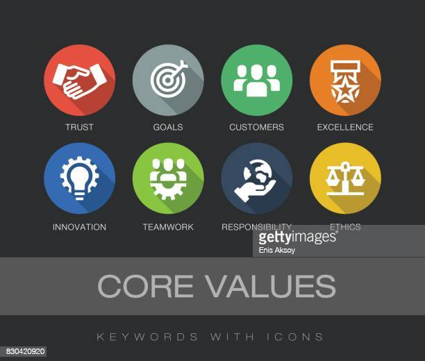 core values keywords with icons - small business stock illustrations