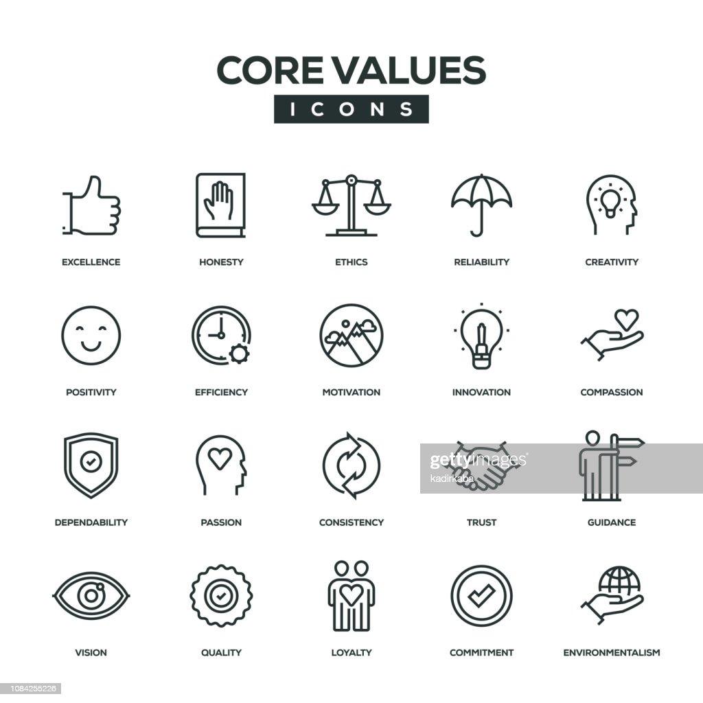 Kern waarden lijn Icon Set : Stockillustraties