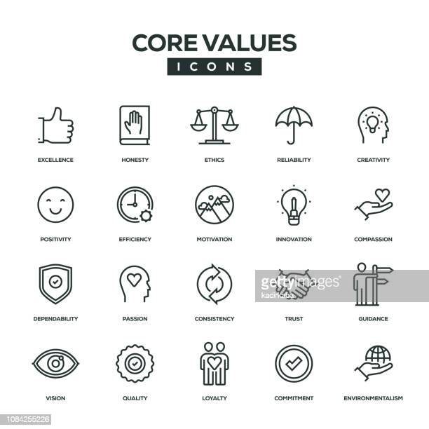 core values line icon set - trust stock illustrations
