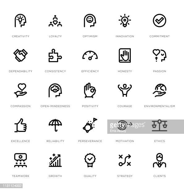 core values line icon set - passion stock illustrations