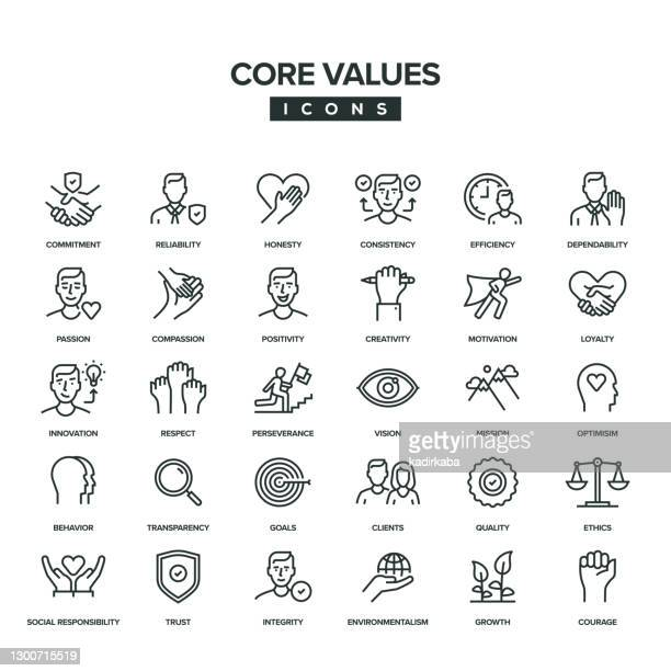 core values line icon set - simple living stock illustrations