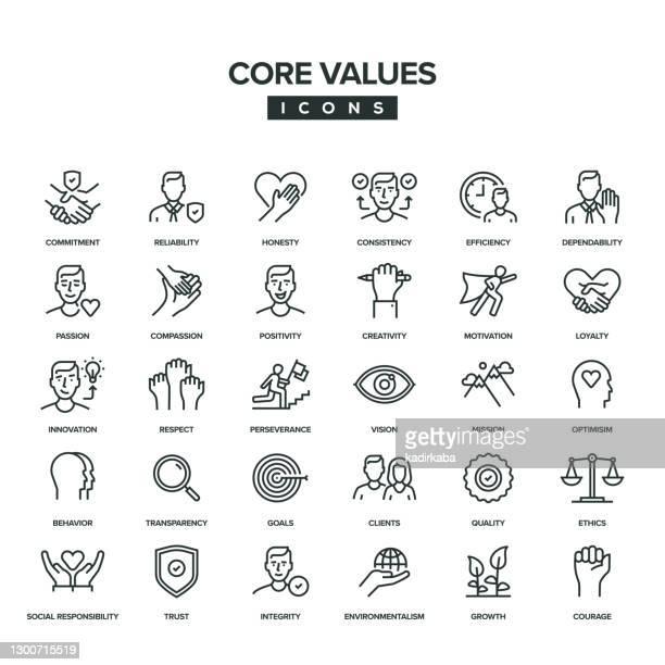 illustrazioni stock, clip art, cartoni animati e icone di tendenza di set di icone della riga valori fondamentali - vivere semplicemente