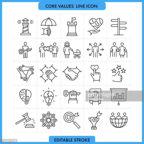illustrazioni stock, clip art, cartoni animati e icone di tendenza di core values line icon set.editable stroke - questioni sociali