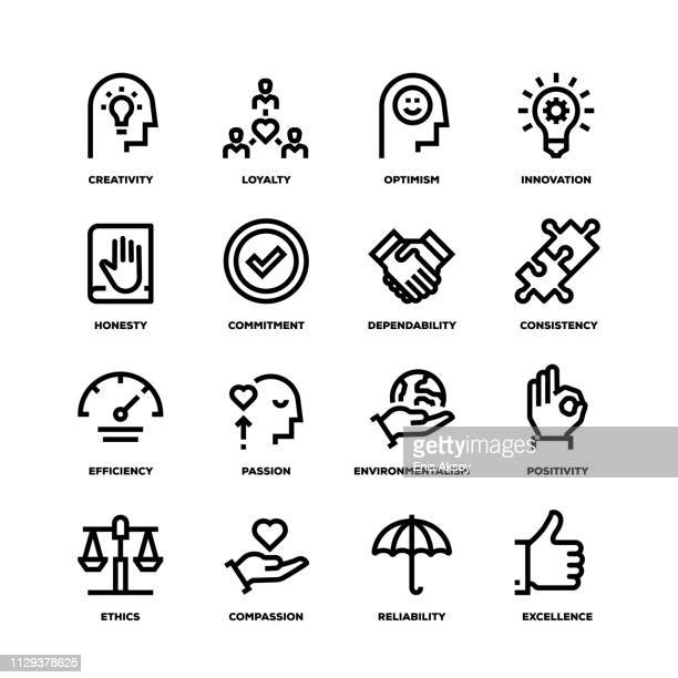 core values line icons - courage stock illustrations