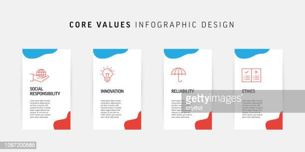 core values related process infographic design - imagem a cores stock illustrations