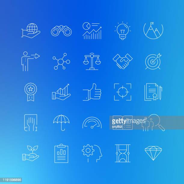 core values related vector line icons - editable stroke - imagem a cores stock illustrations