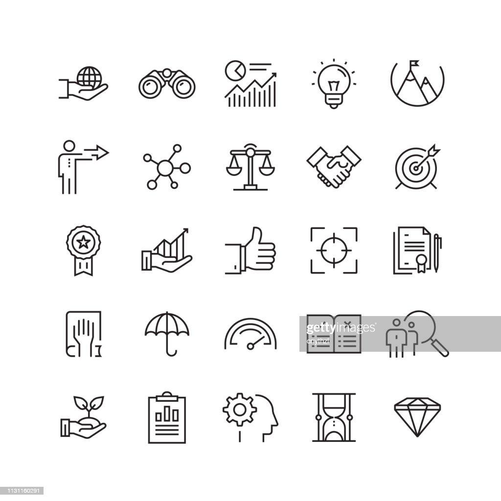 Valores principales iconos de línea vectorial relacionados : Ilustración de stock