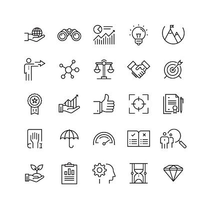 Core Values Related Vector Line Icons - gettyimageskorea
