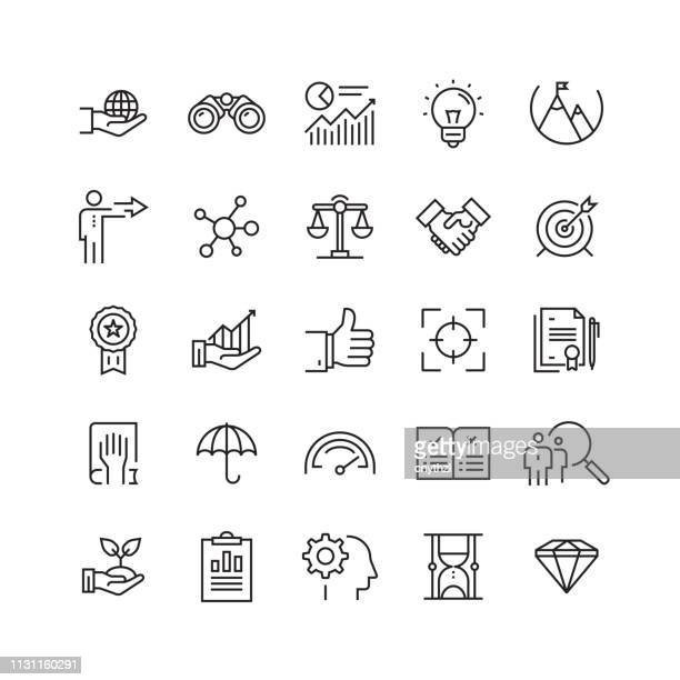 stockillustraties, clipart, cartoons en iconen met kernwaarden gerelateerde vector lijn iconen - vastberadenheid