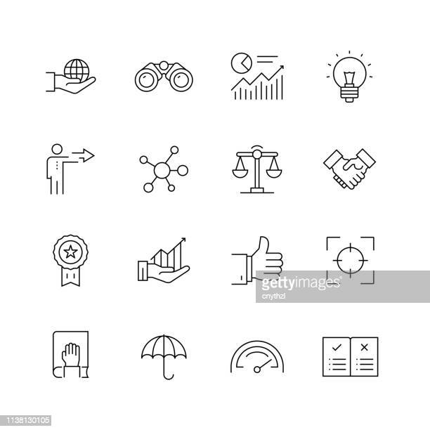 core values - set of thin line vector icons - passion stock illustrations