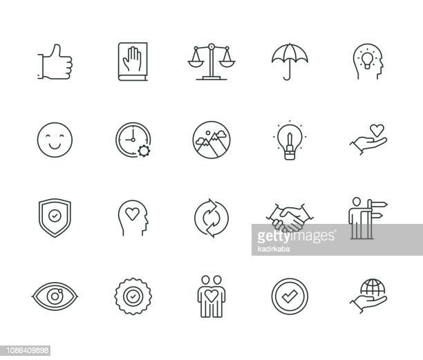 core values thin line series - passion stock illustrations