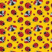 Corel seamless pattern. Cartoon ladybugs red on a yellow background