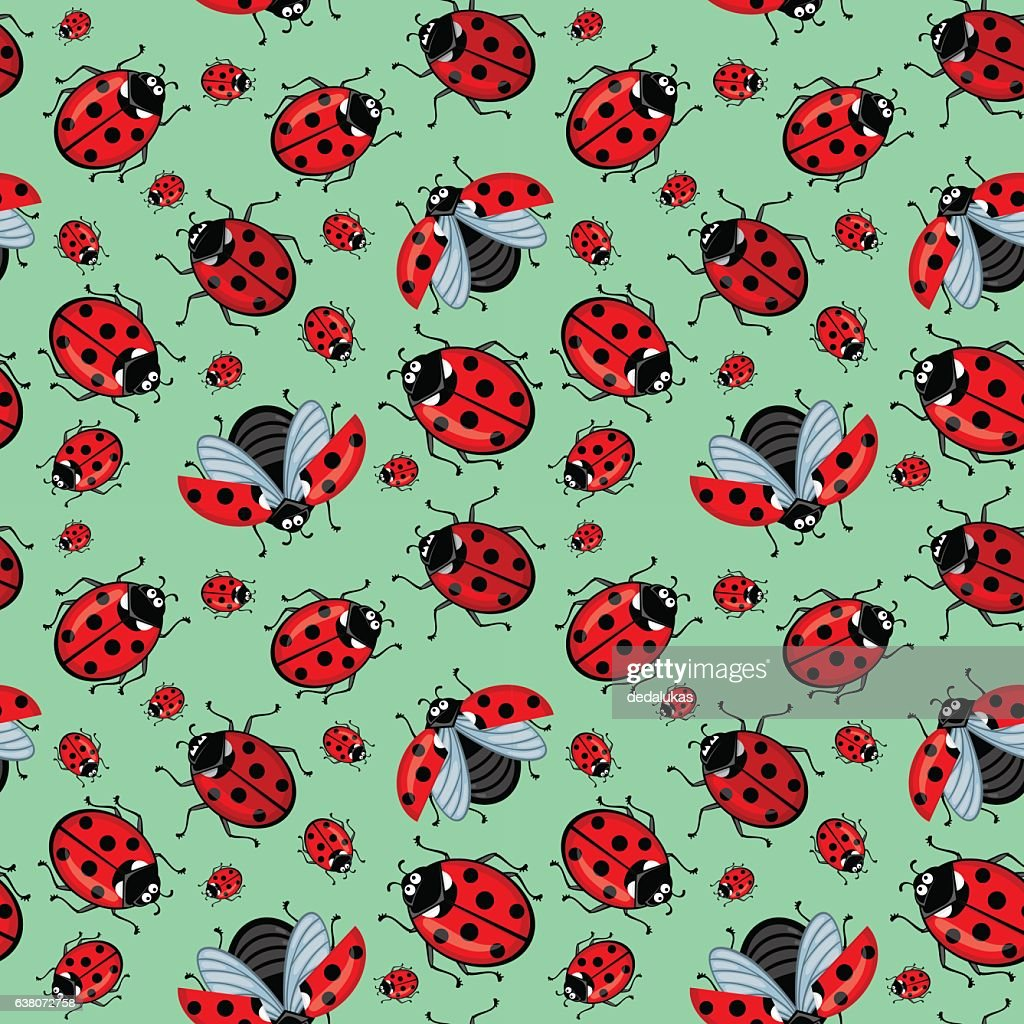 Corel seamless pattern. Cartoon red ladybugs on a blue background