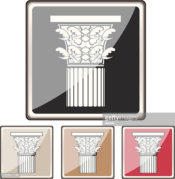 corinthian column buttons - corinthian stock illustrations, clip art, cartoons, & icons