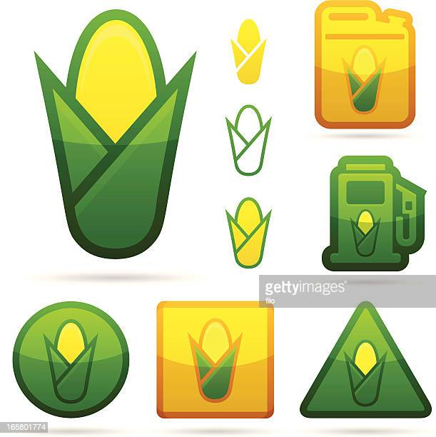 corn and ethanol icons - biodiesel stock illustrations, clip art, cartoons, & icons