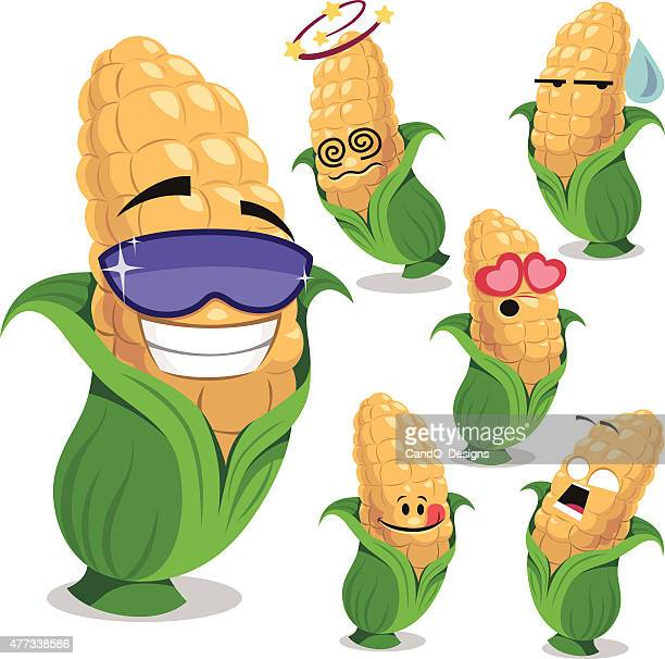 corn cartoon set a - corn stock illustrations, clip art, cartoons, & icons