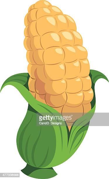 corn cartoon - zea stock illustrations, clip art, cartoons, & icons