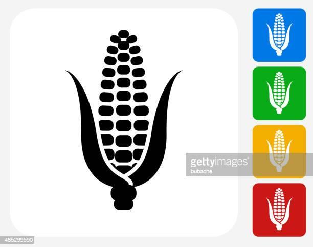 corn cob icon flat graphic design - corn stock illustrations, clip art, cartoons, & icons
