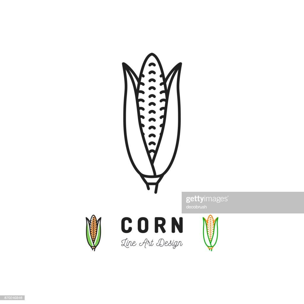 Corn cobs icon Vegetables  Maize. Thin line art desig