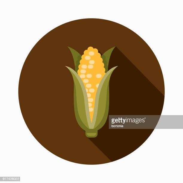 corn flat design thanksgiving icon - corn stock illustrations, clip art, cartoons, & icons
