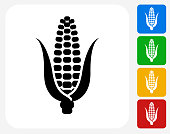 Corn Icon Flat Graphic Design