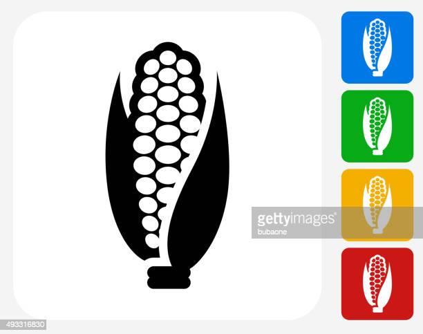 corn icon flat graphic design - corn stock illustrations, clip art, cartoons, & icons
