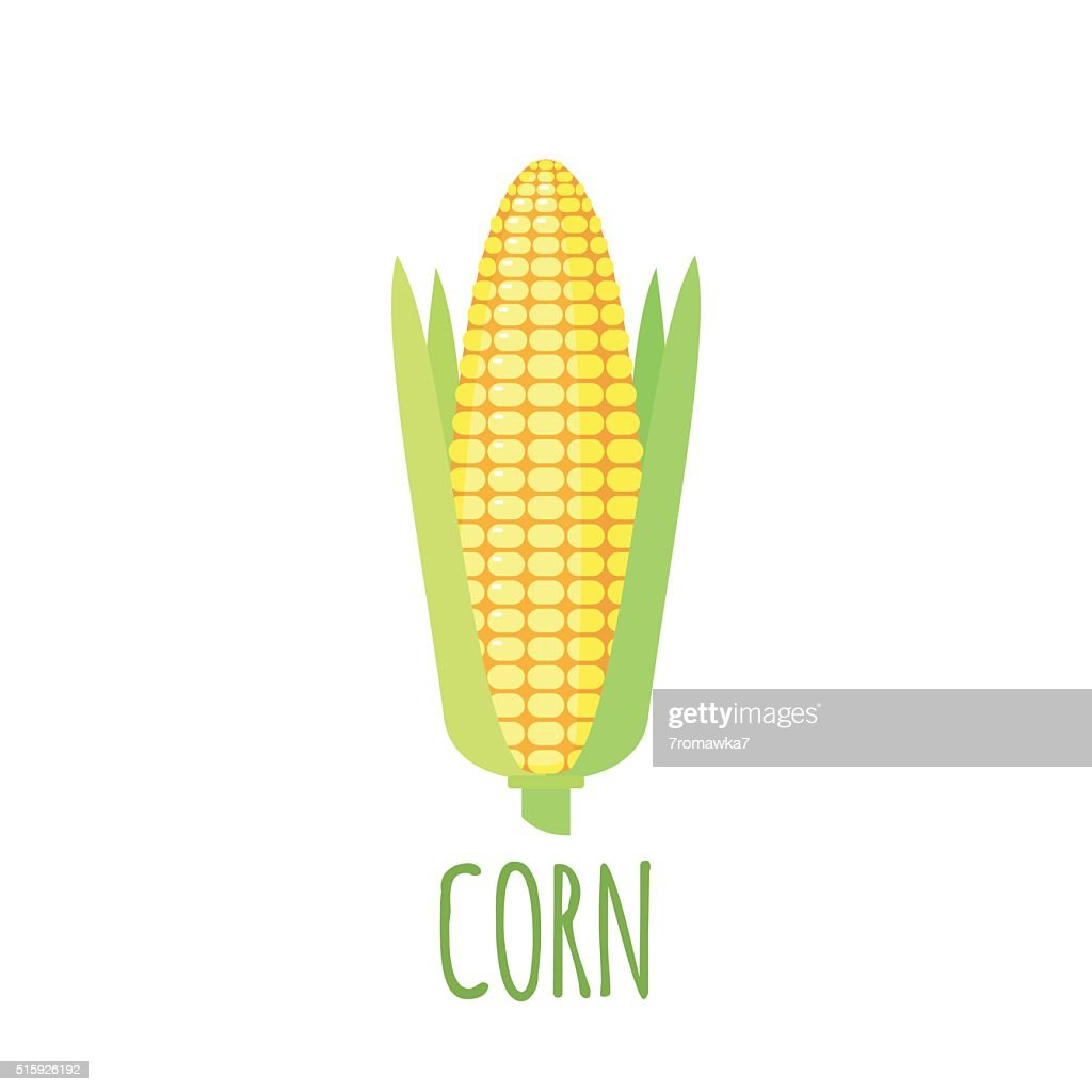 Corn icon in flat style on white background