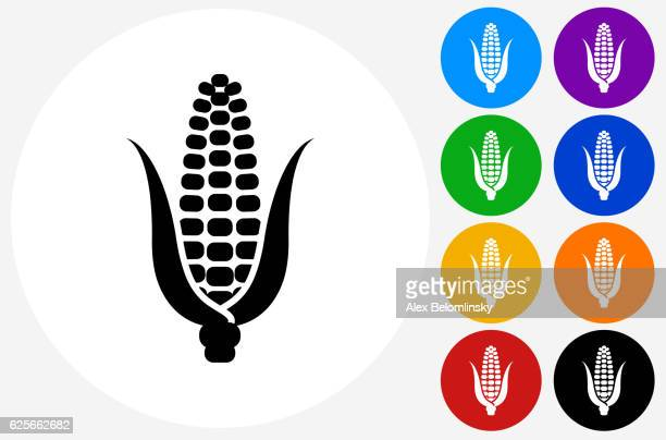 corn icon on flat color circle buttons - corn stock illustrations, clip art, cartoons, & icons
