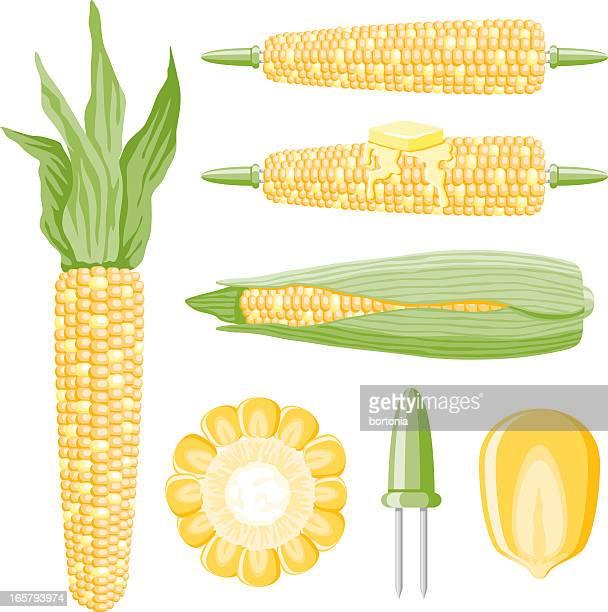 ilustraciones, imágenes clip art, dibujos animados e iconos de stock de iconos de maíz - mazorca de maíz