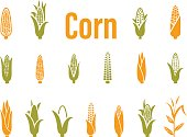 Corn icons. Vector illustration isolated on white background.