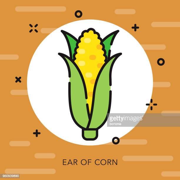 ilustraciones, imágenes clip art, dibujos animados e iconos de stock de icono de acción de gracias de maíz contorno abierto - mazorca de maíz