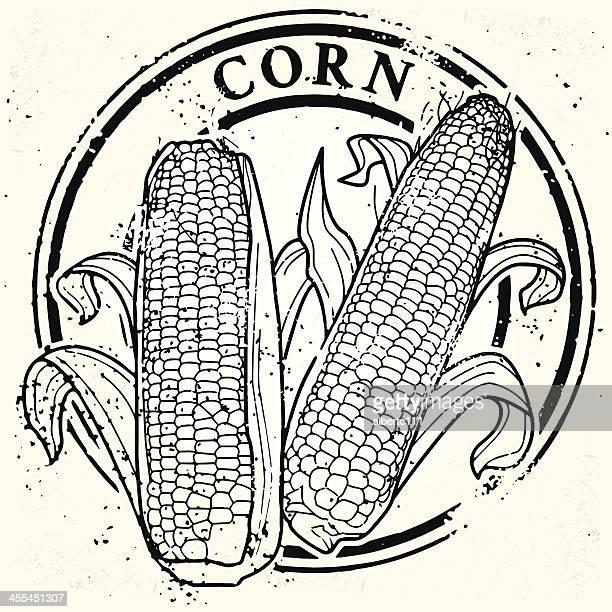 corn stamp - zea stock illustrations, clip art, cartoons, & icons