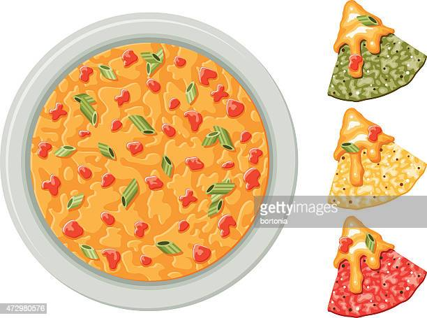 corn tortilla chips with queso dip - nachos stock illustrations