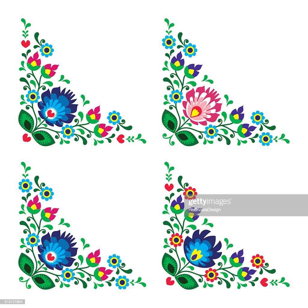 Corner border Polish floral folk art