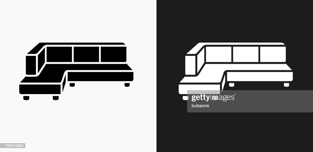 Corner Convertible Sofa Icon On Black And White Vector Backgrounds
