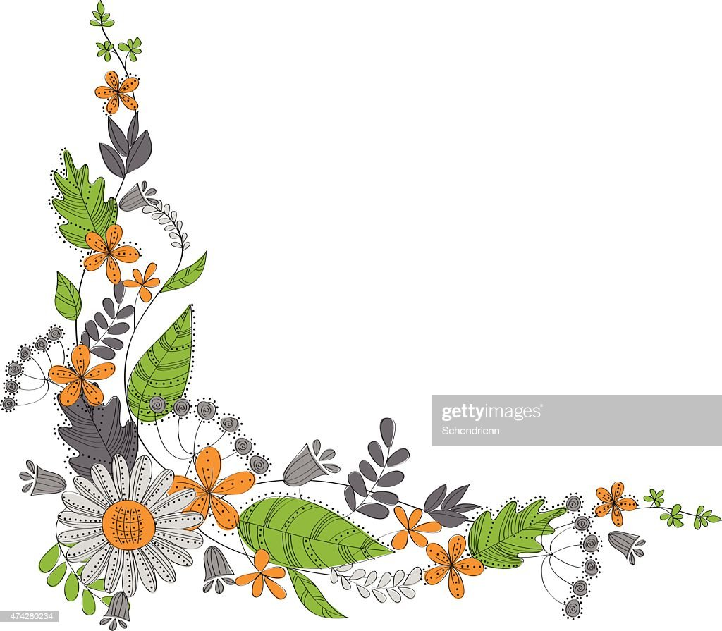 Corner decoation with flowers and leaves