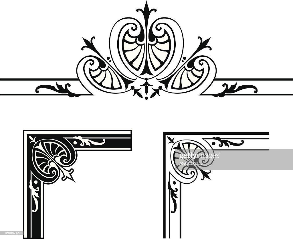 Corner Designs And Centre Scroll Design stock illustration - Getty