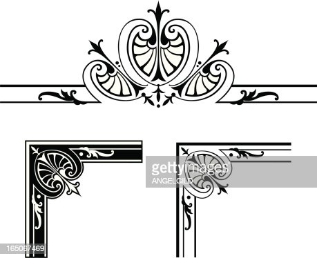 Corner Designs And Centre Scroll Design Stock Illustration