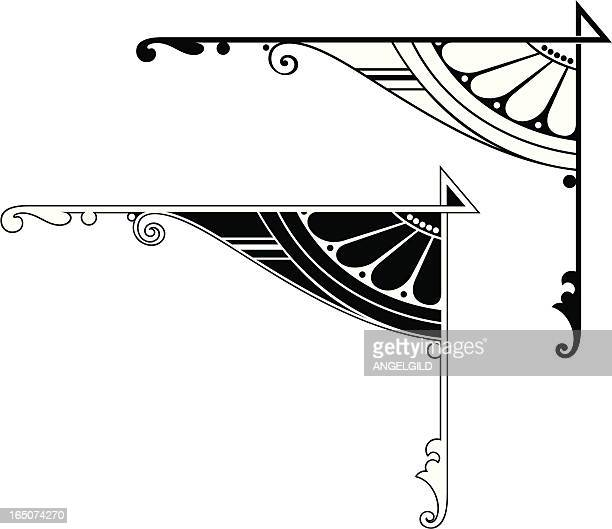 corner details - art nouveau stock illustrations, clip art, cartoons, & icons