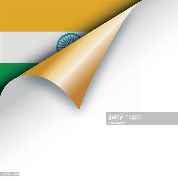 corner page turn - indian flag - curled up stock illustrations